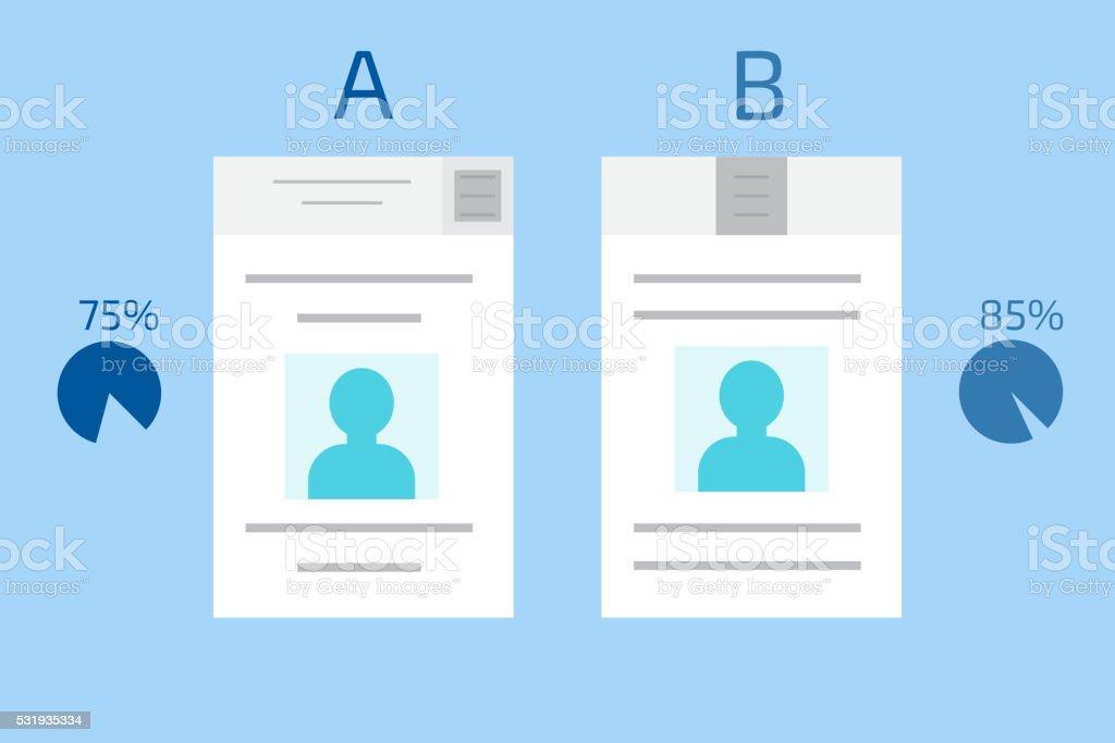 Split testing. A-B comparison. vector art illustration