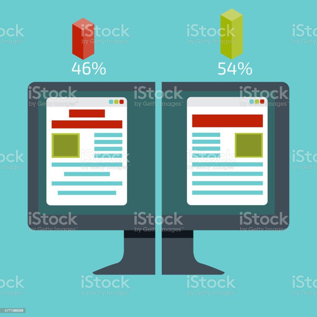 Split testing. Concept with desktop computer vector illustration vector art illustration