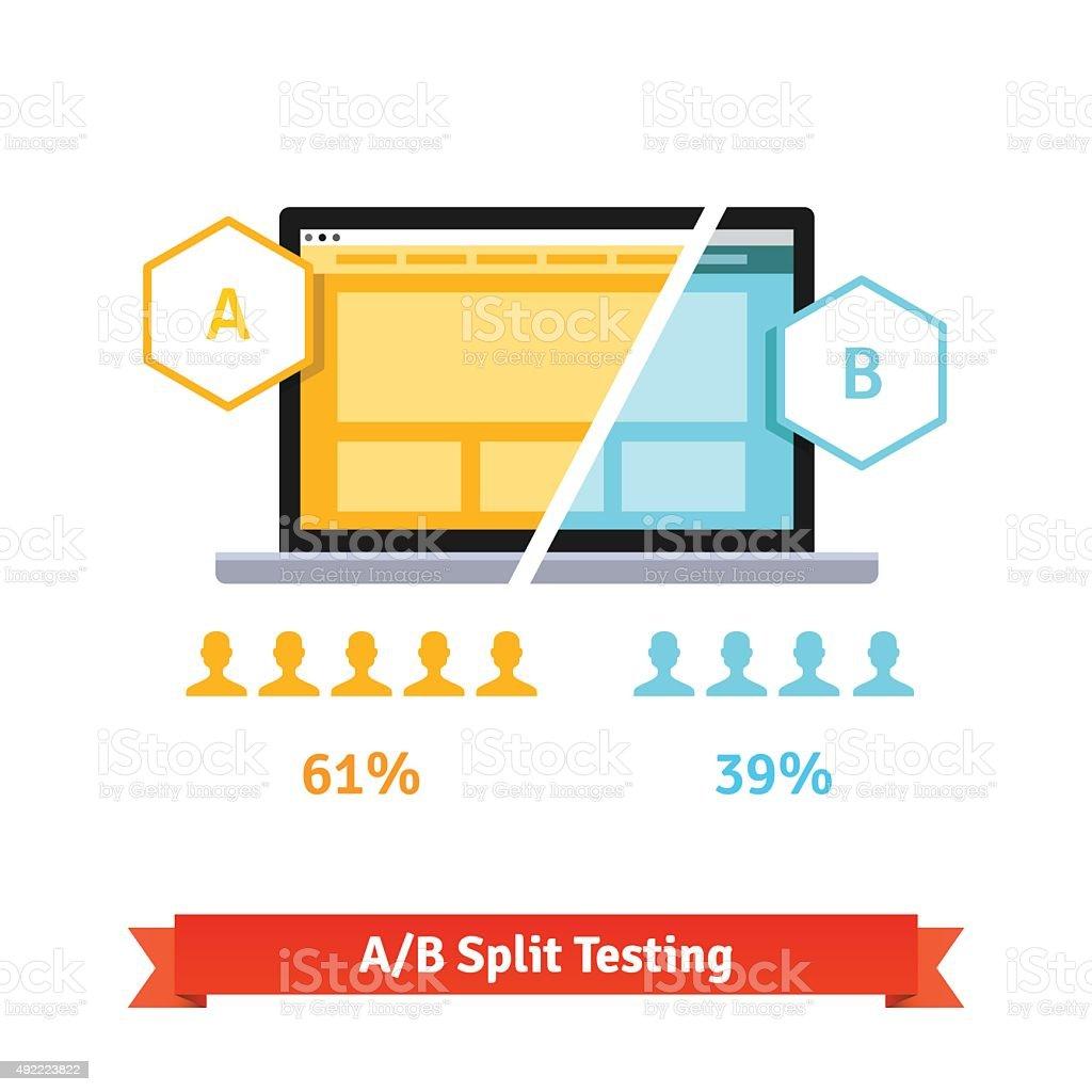AB split testing. Laptop screen vector art illustration