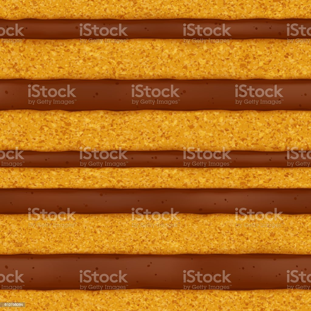 Sponge cake background. Colorful seamless texture. vector art illustration