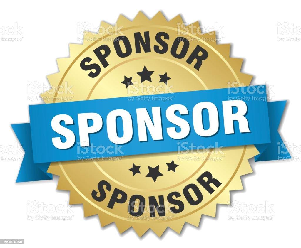 sponsor 3d gold badge with blue ribbon vector art illustration