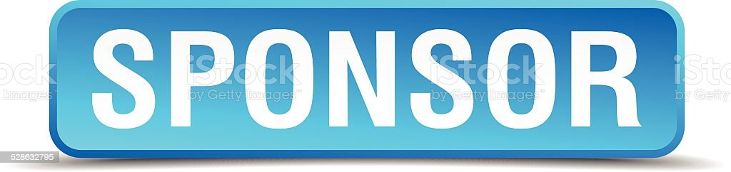 sponsor blue 3d realistic square isolated button vector art illustration