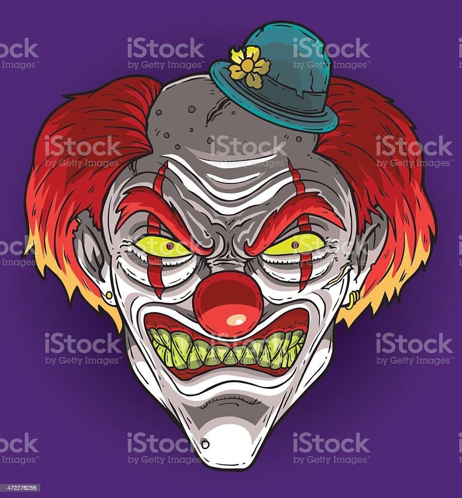 Spooky Clown vector art illustration
