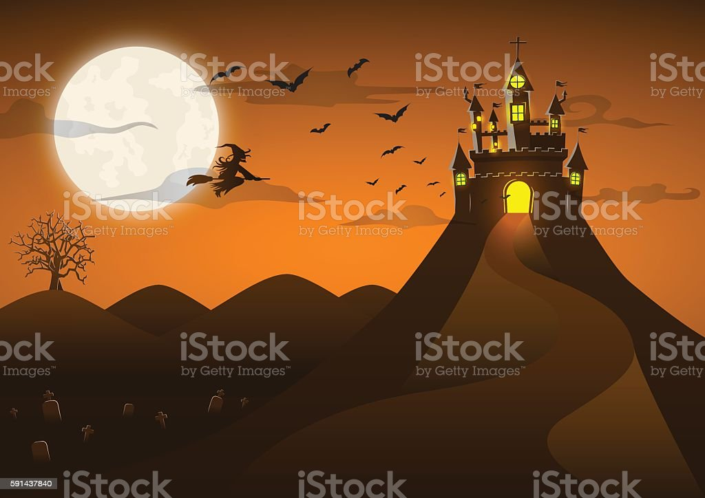 Spooky ghost castle on the hill with full moon vector art illustration