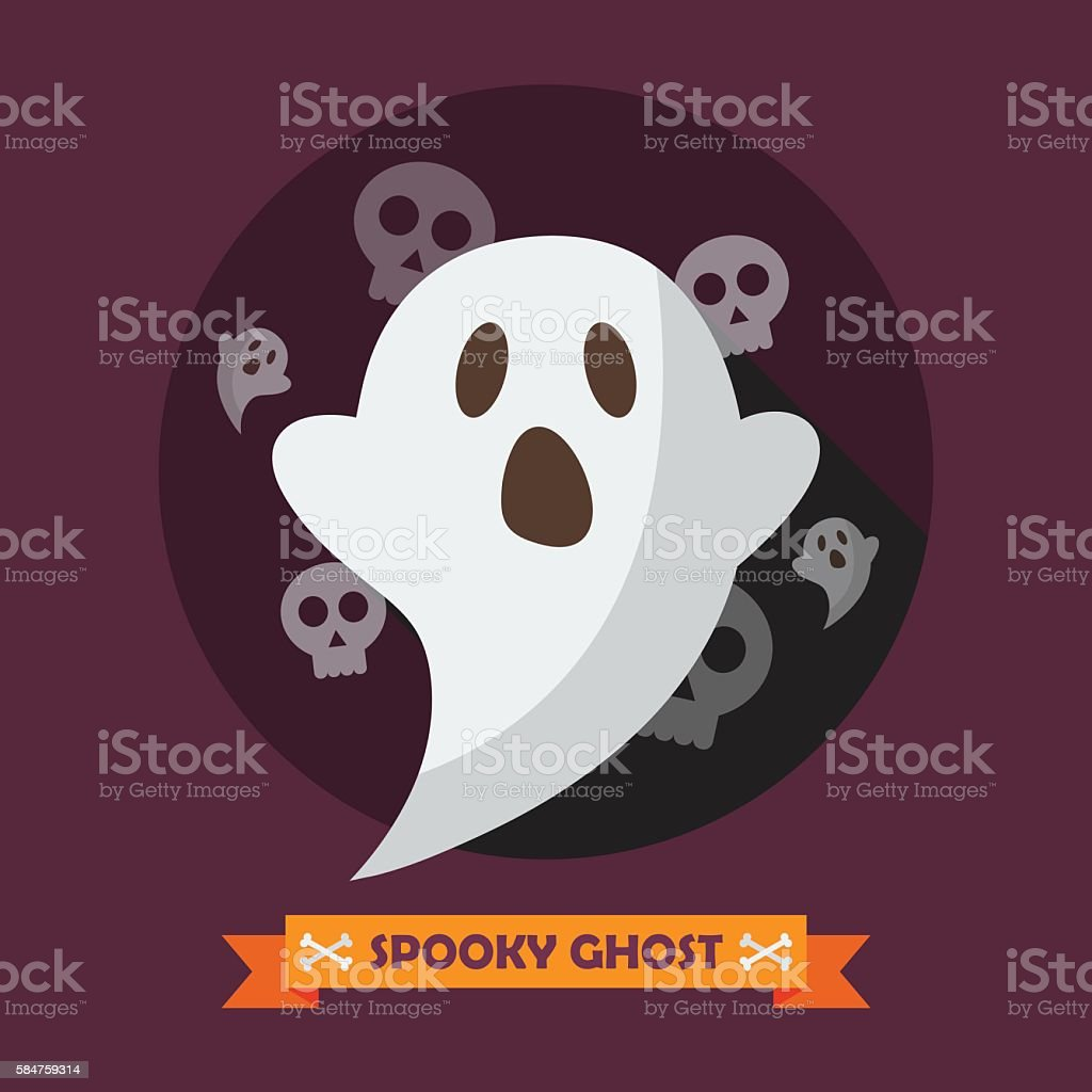 Spooky ghost greeting card vector art illustration