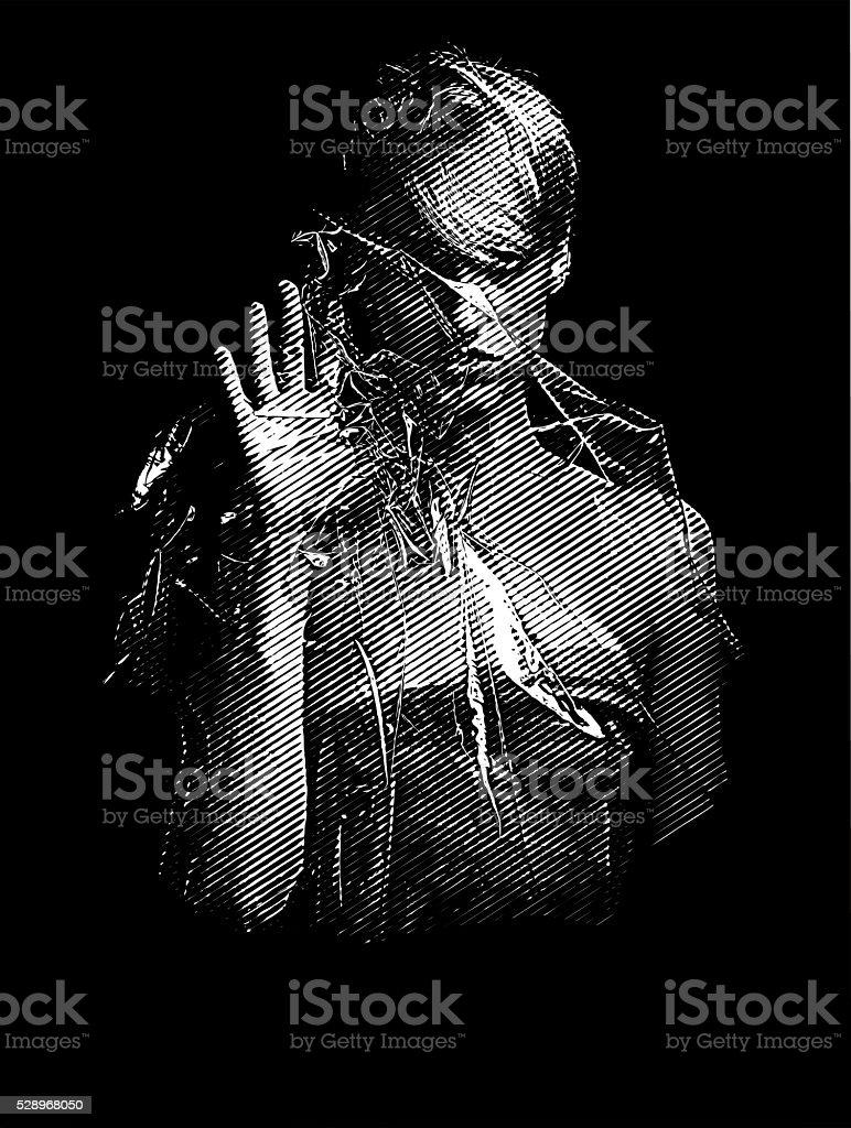 Spooky Ghost Woman vector art illustration