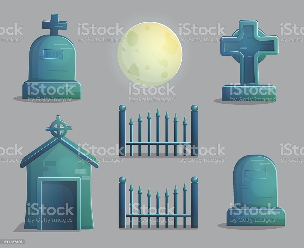 Spooky graveyard items for game design vector art illustration
