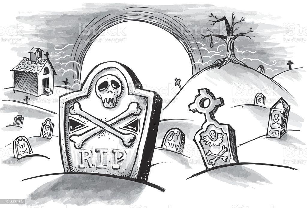 Spooky graveyard vector art illustration