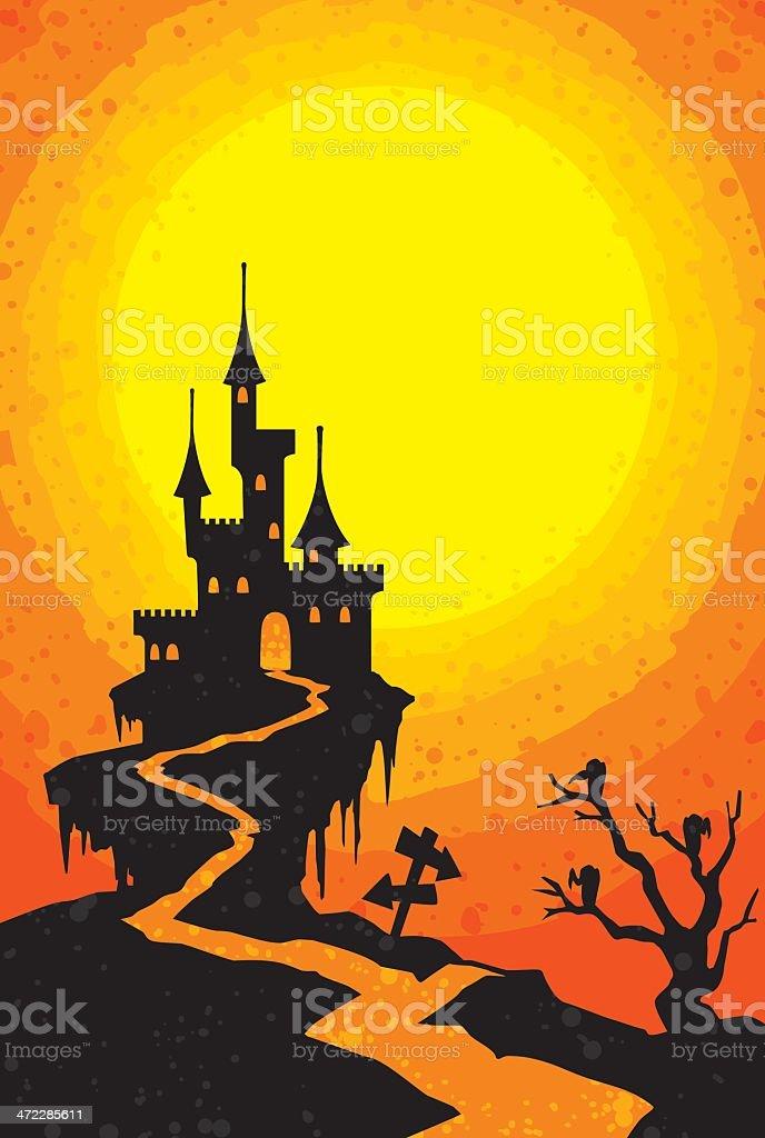 spooky halloween castle vector art illustration