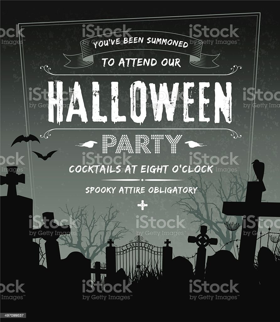 Spooky Halloween party invite complete with cemetery and grunge background vector art illustration