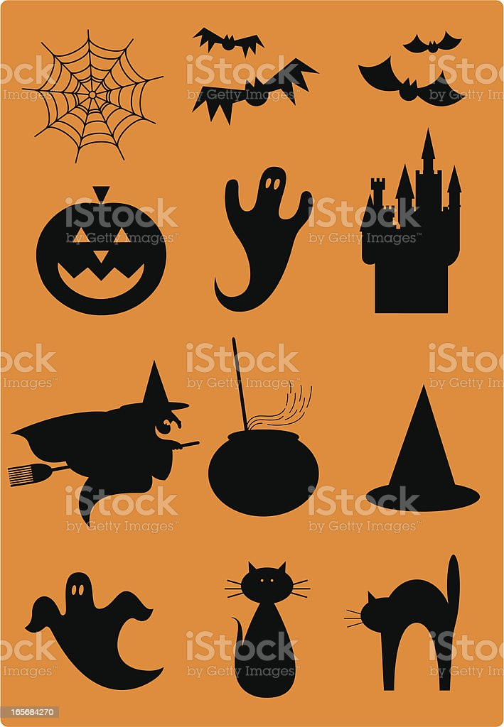 Spooky Halloween Silhouettes Icons royalty-free stock vector art
