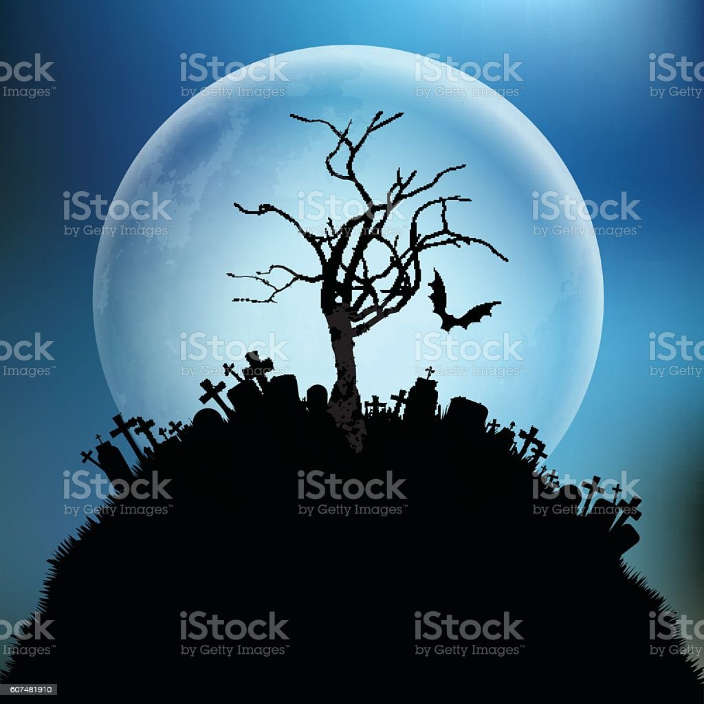 Spooky Halloween tree against the moon vector art illustration