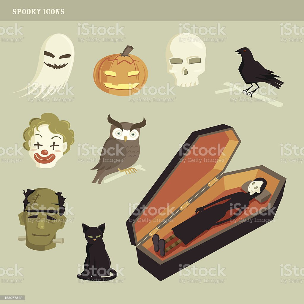 spooky icons vector art illustration