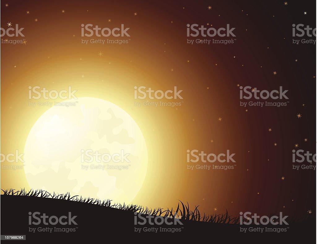 Spooky Night Full Moon royalty-free stock vector art