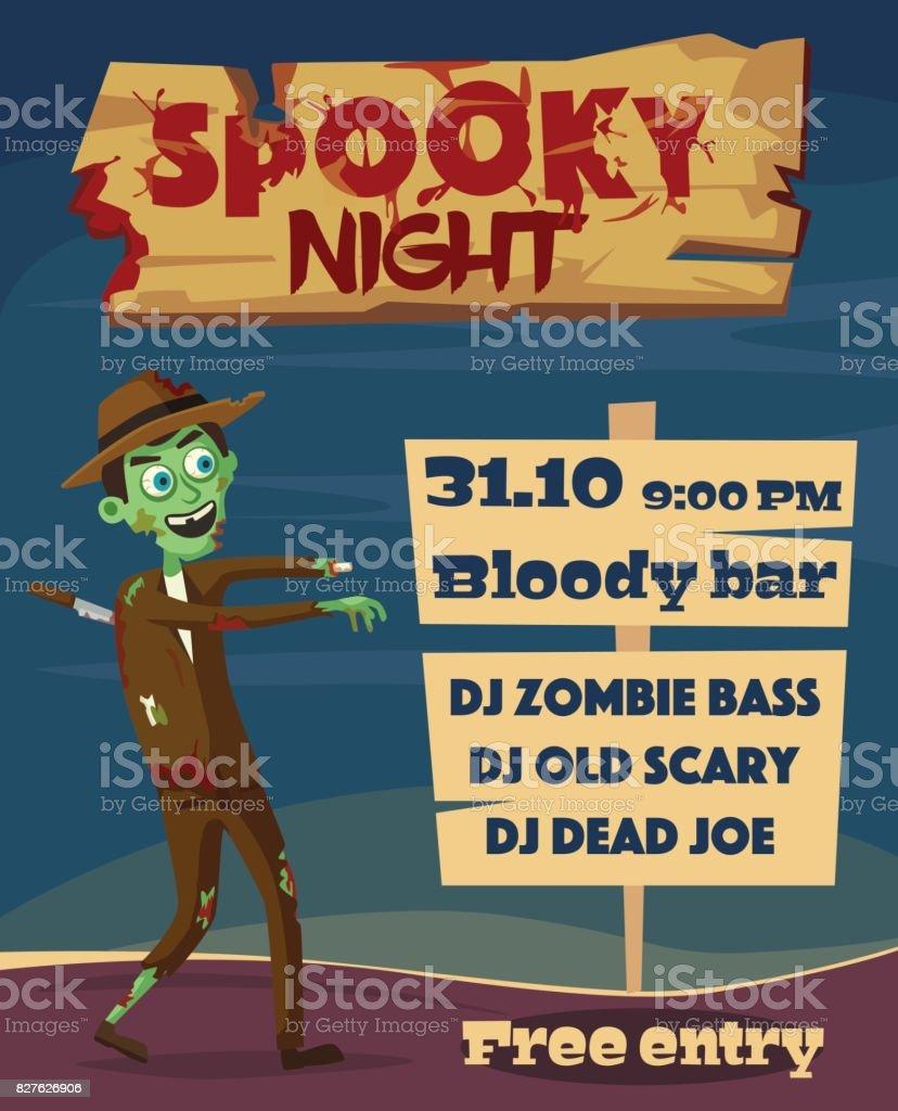 Spooky night. Halloween party. Cartoon vector illustration vector art illustration