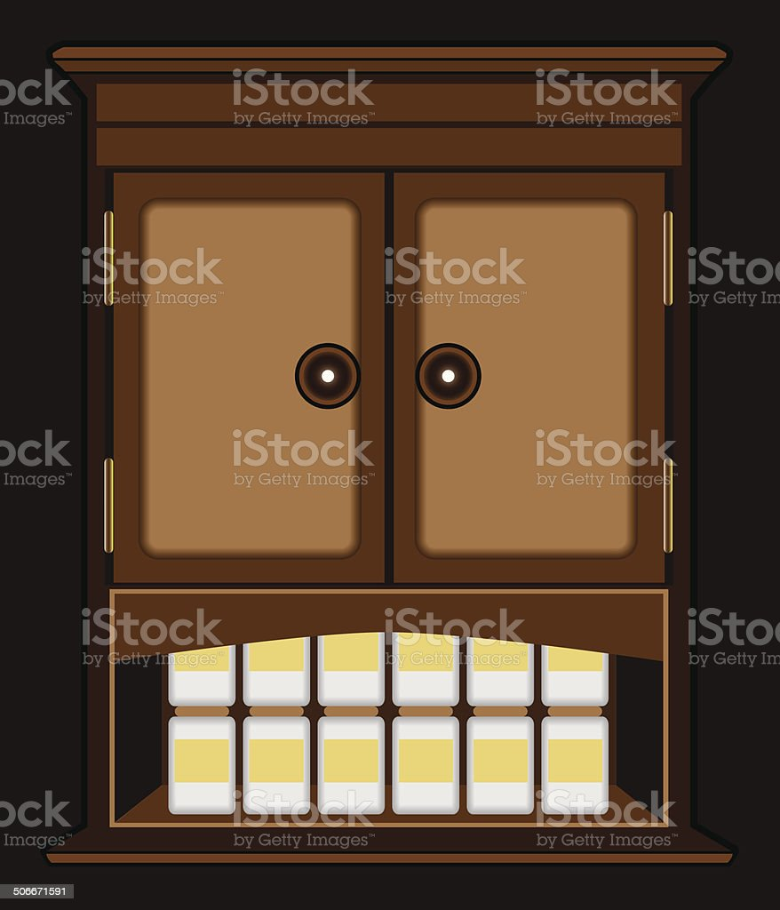 Spooky Nighttime Cabinet royalty-free stock vector art