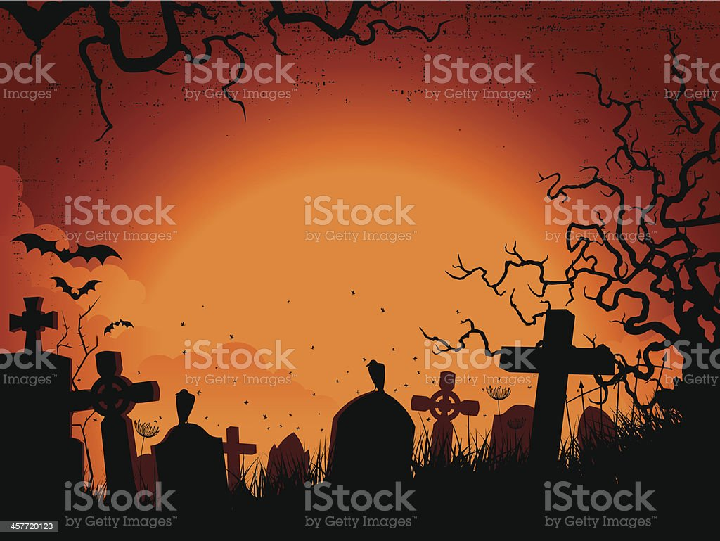 Spooky orange and black Silhouette graveyard background vector art illustration