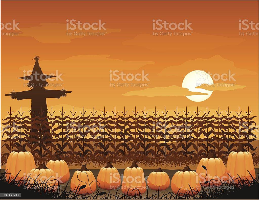 Spooky pumpkin patch royalty-free stock vector art