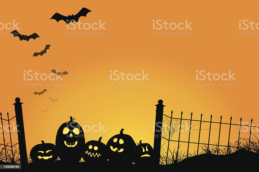 Spooky Sunset with Jack O'Lanterns and Bats vector art illustration