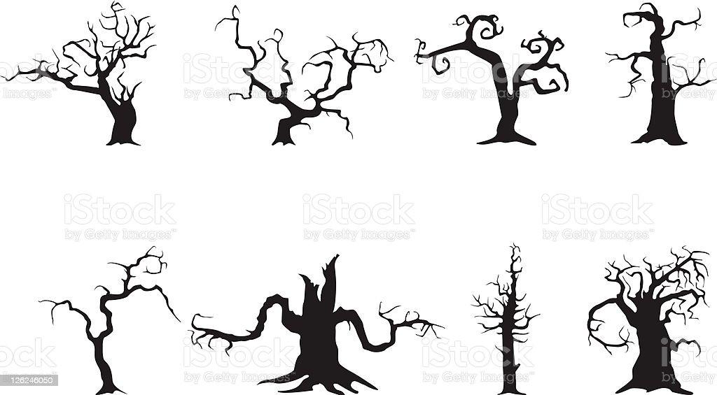 Spooky trees vector art illustration
