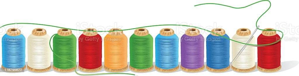 Spools of Thread in a Row royalty-free stock vector art