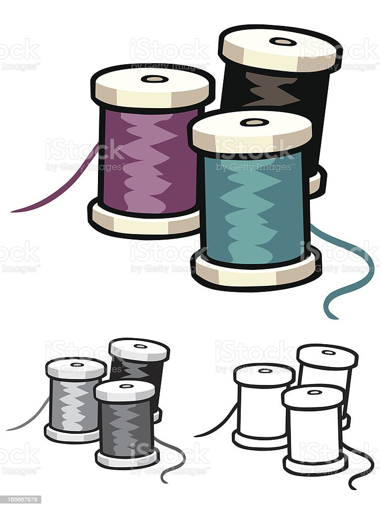 Spools of Thread royalty-free stock vector art