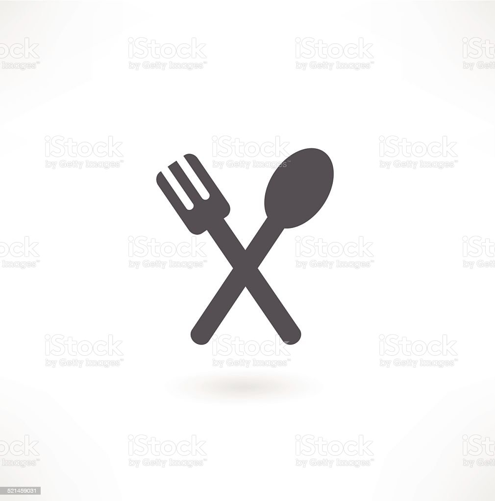 spoon and fork icon vector art illustration