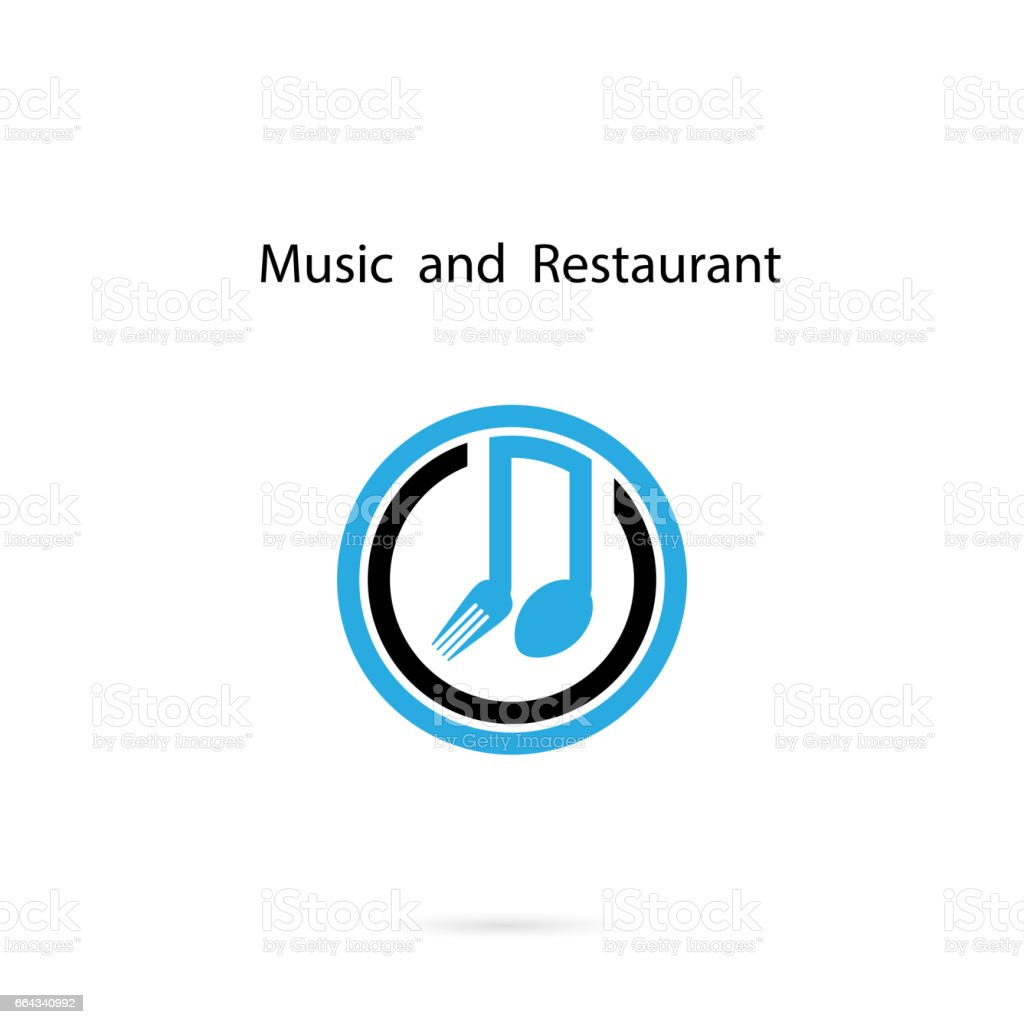 Spoon and fork icon with Musical note vector design template.Music and Restaurant Template Design.Design for greeting Card,Poster,Flyer,Cover,Brochure,Abstract background vector art illustration