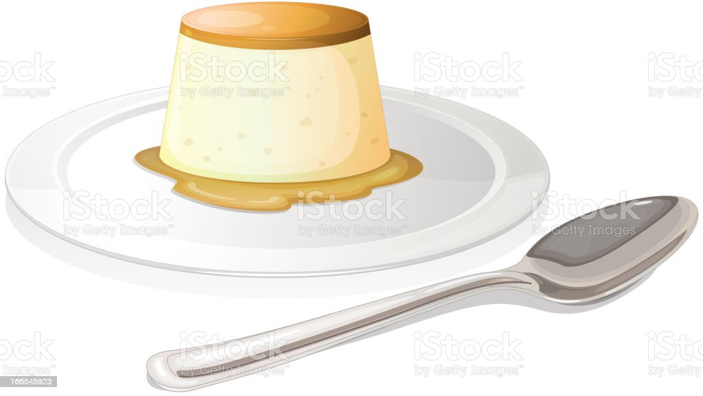 Spoon beside plate with a leche flan vector art illustration