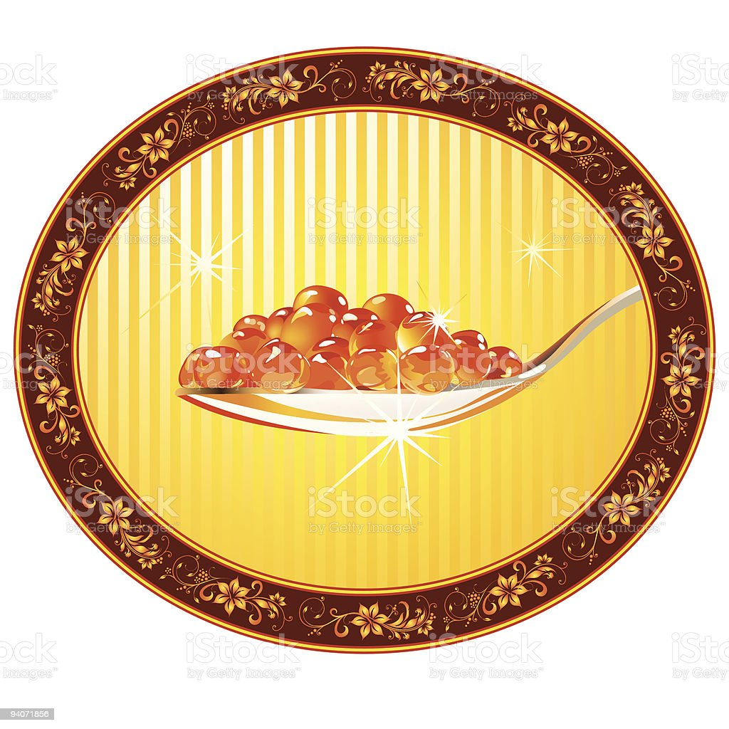 spoon with red caviar on the gold oval plate royalty-free stock vector art
