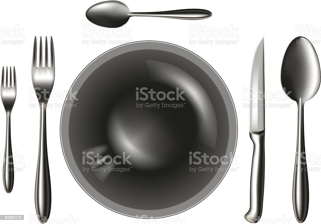 spoon_knife_fork_plate royalty-free stock vector art