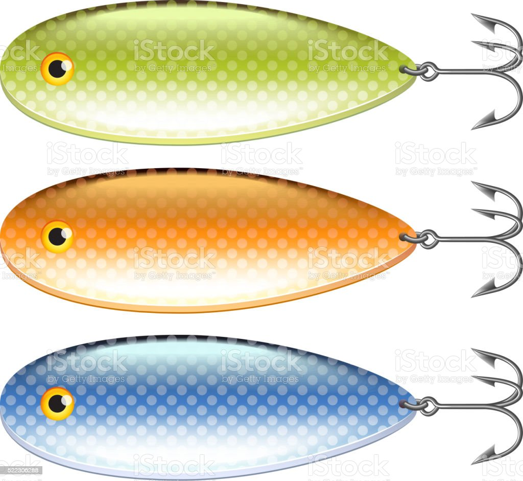 Spoon-bait isolated on white vector vector art illustration