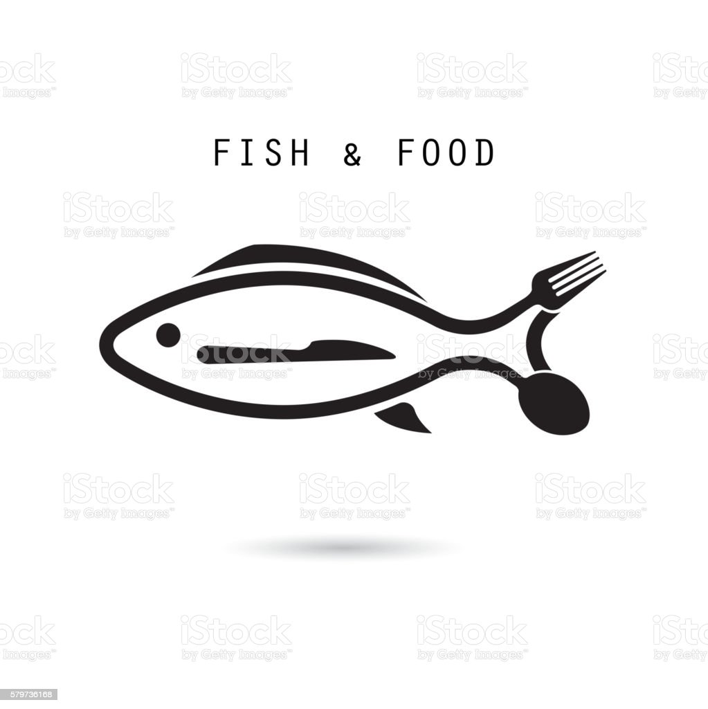Spoon,fork and knife icon.Fish shape with spoon,fork and knife vector icon vector art illustration