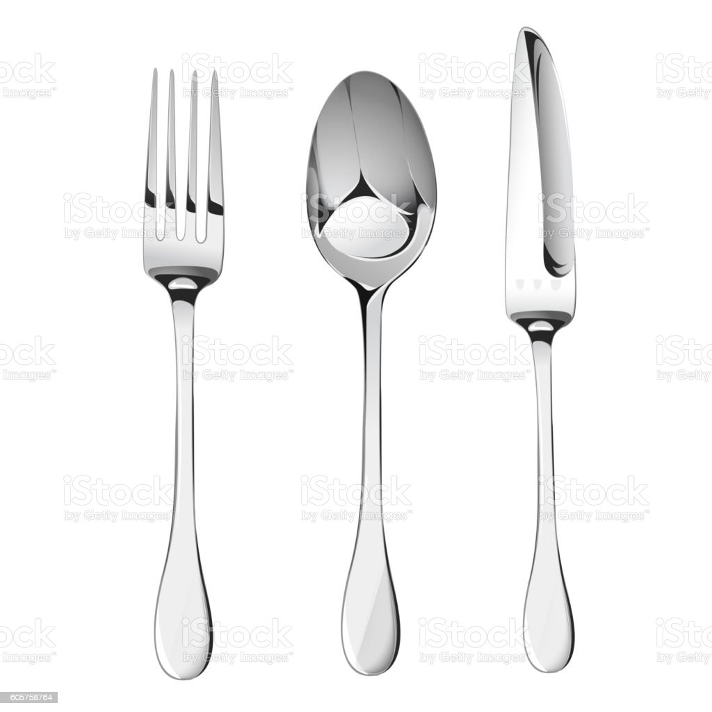 Spoon,fork and knife vector set vector art illustration