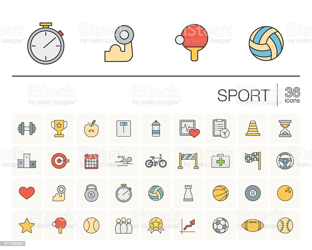 Sport and fitness color vector icons vector art illustration
