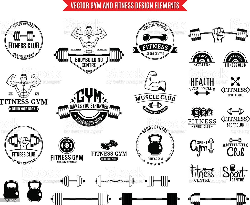 Sport and Fitness Gym Label Templates and Design Elements vector art illustration