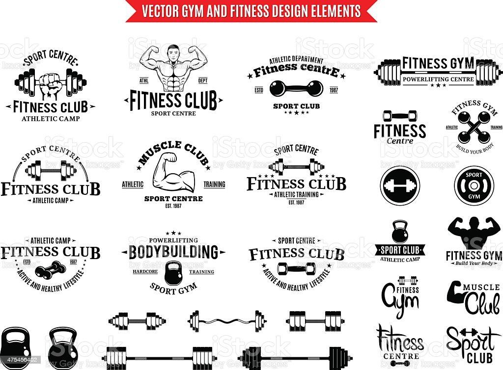 Sport Und Fitness Gymlabeldesignvorlagen Und Elementen Vektor ...