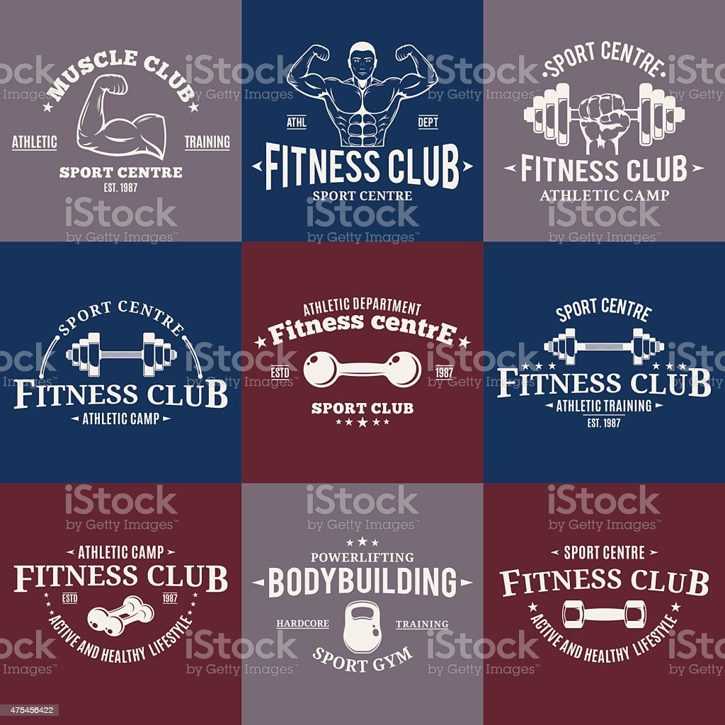 Sport and Fitness Gym Labels Templates, Athletic Labels and Badges vector art illustration
