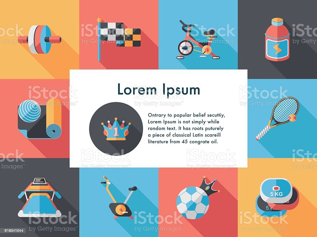 Sport and fitness icons set vector art illustration