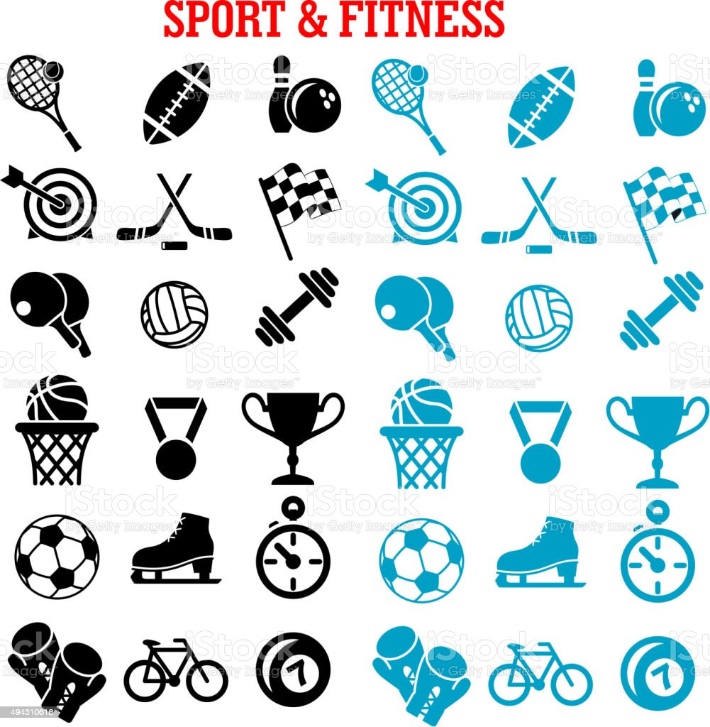 Sport and fitness icons set with items vector art illustration