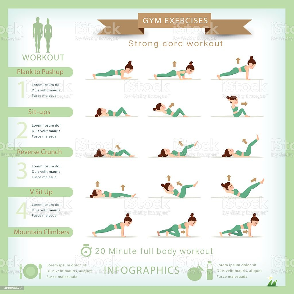 Sport and fitness infographics. Home workout. Vector. vector art illustration