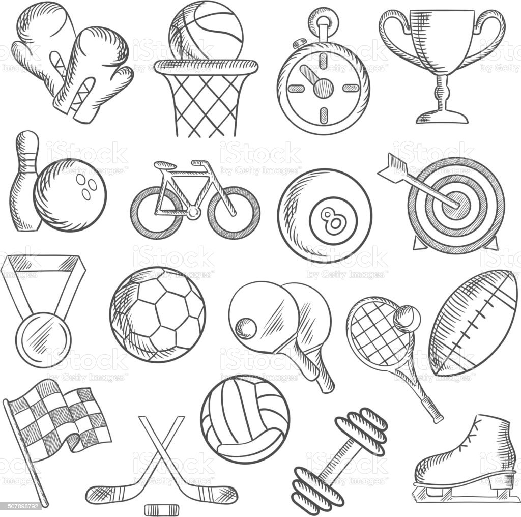 Sport and fitness sketch icons of game items vector art illustration