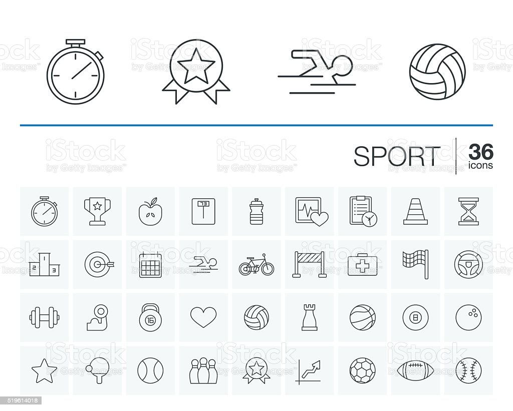 Sport and fitness vector icons vector art illustration