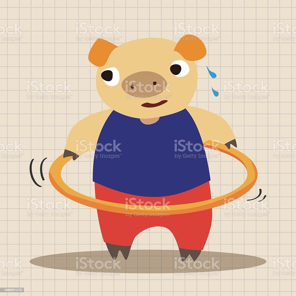 sport animal pig cartoon elements vector vector art illustration