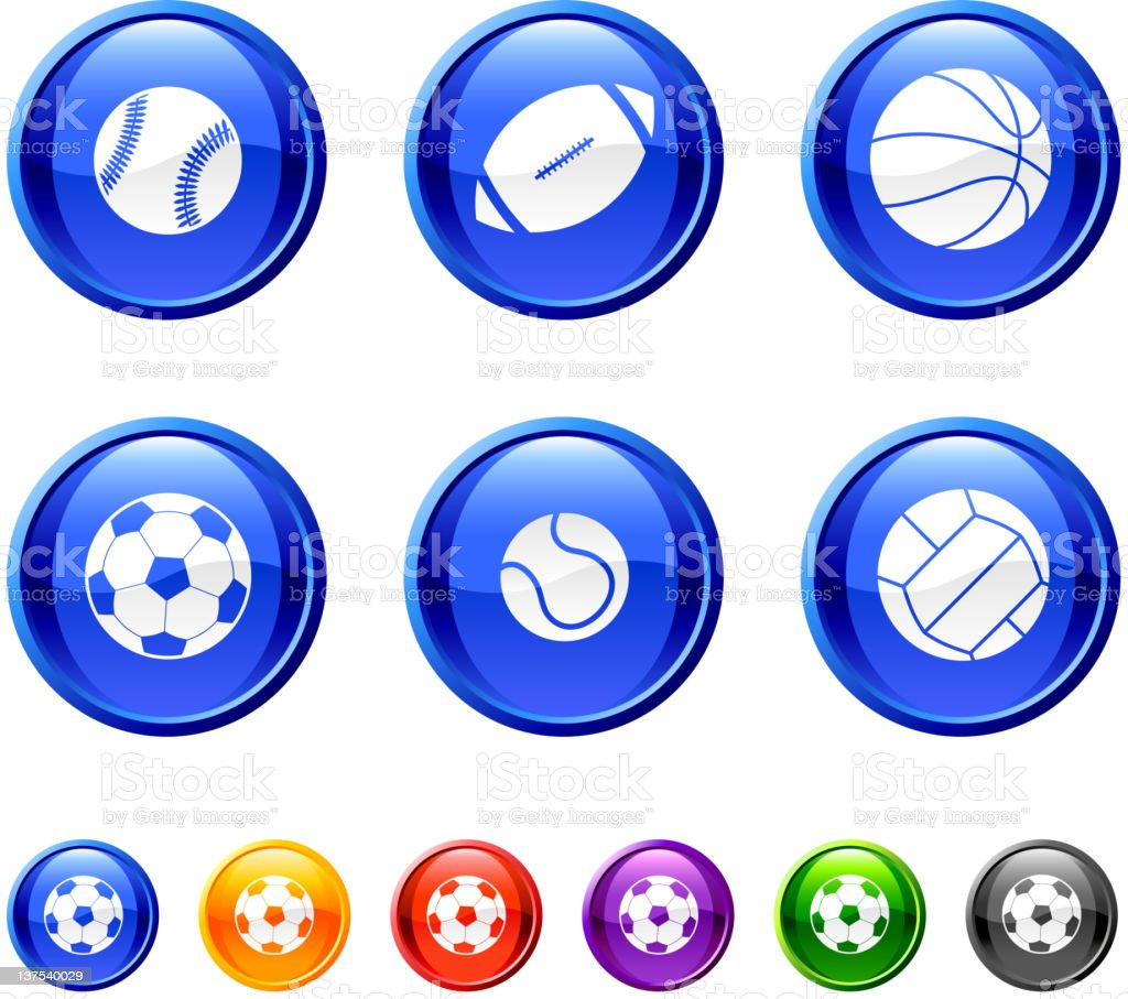 sport balls. 36 royalty-free vector arts buttons. vector art illustration