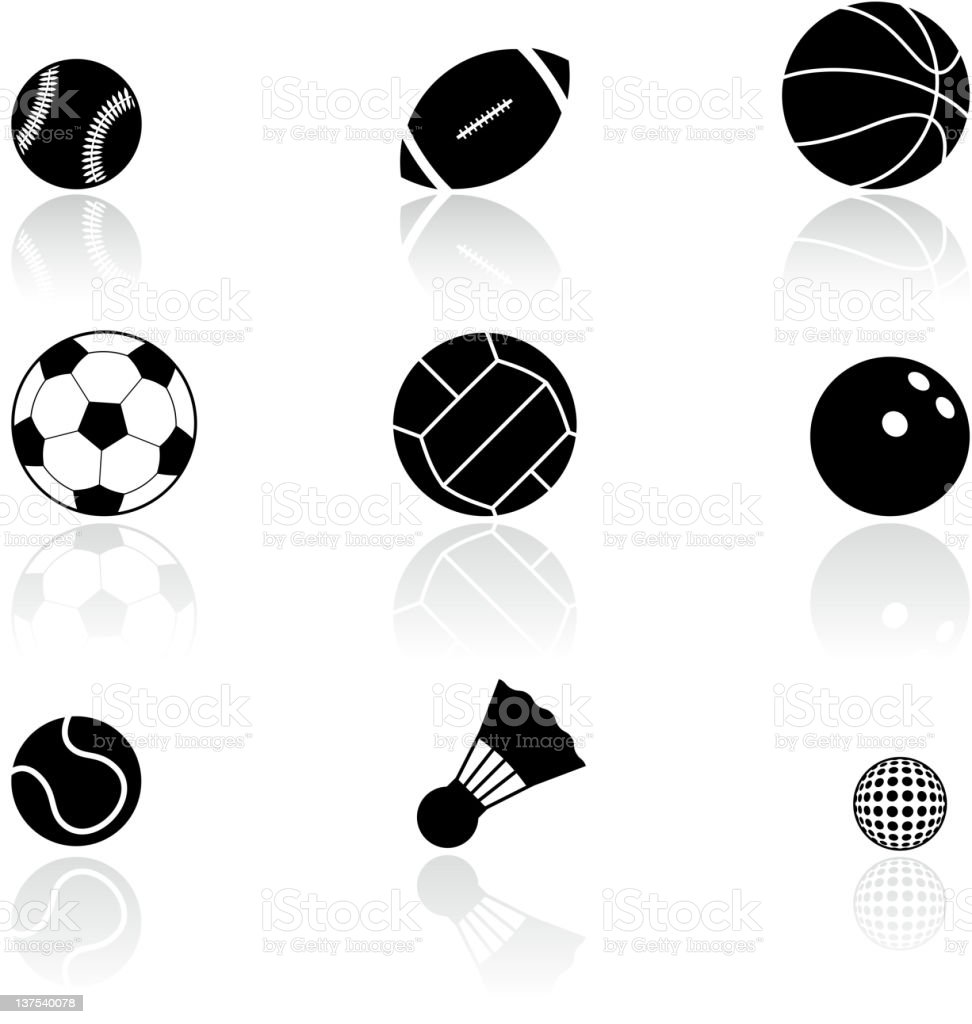 sport balls black and white icon set vector art illustration