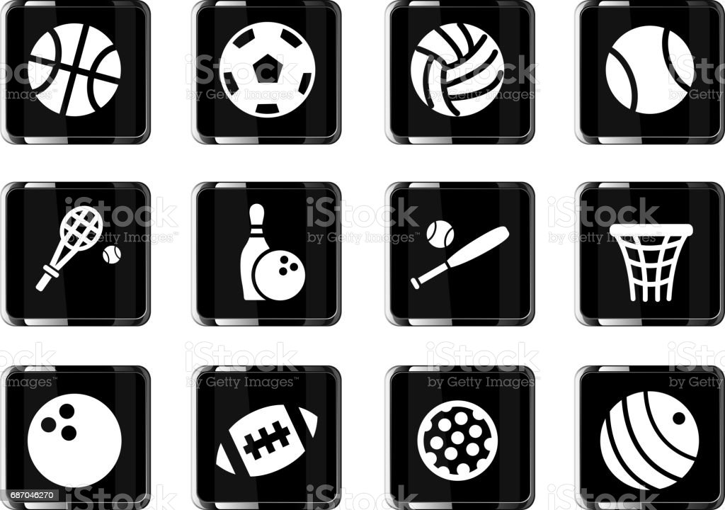 sport balls icon set vector art illustration