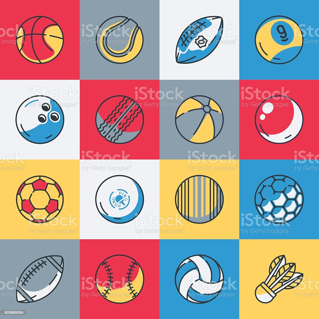 Sport balls icons set vector art illustration