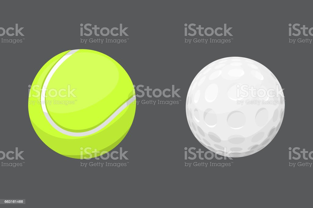 Sport balls isolated tournament win round golf equipment and recreation tennis group traditional different design vector illustration vector art illustration