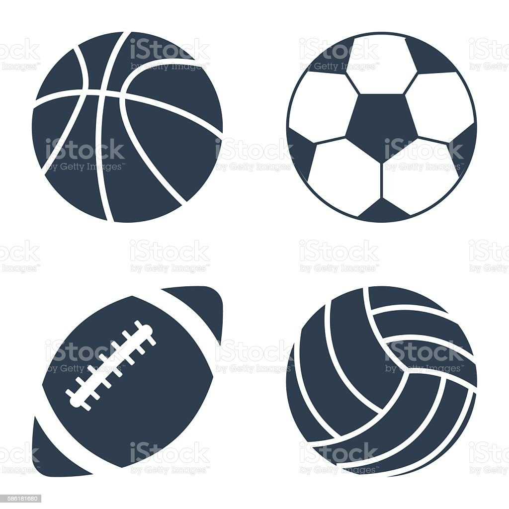 Sport balls on black background. Sport balls set. Collection sports...